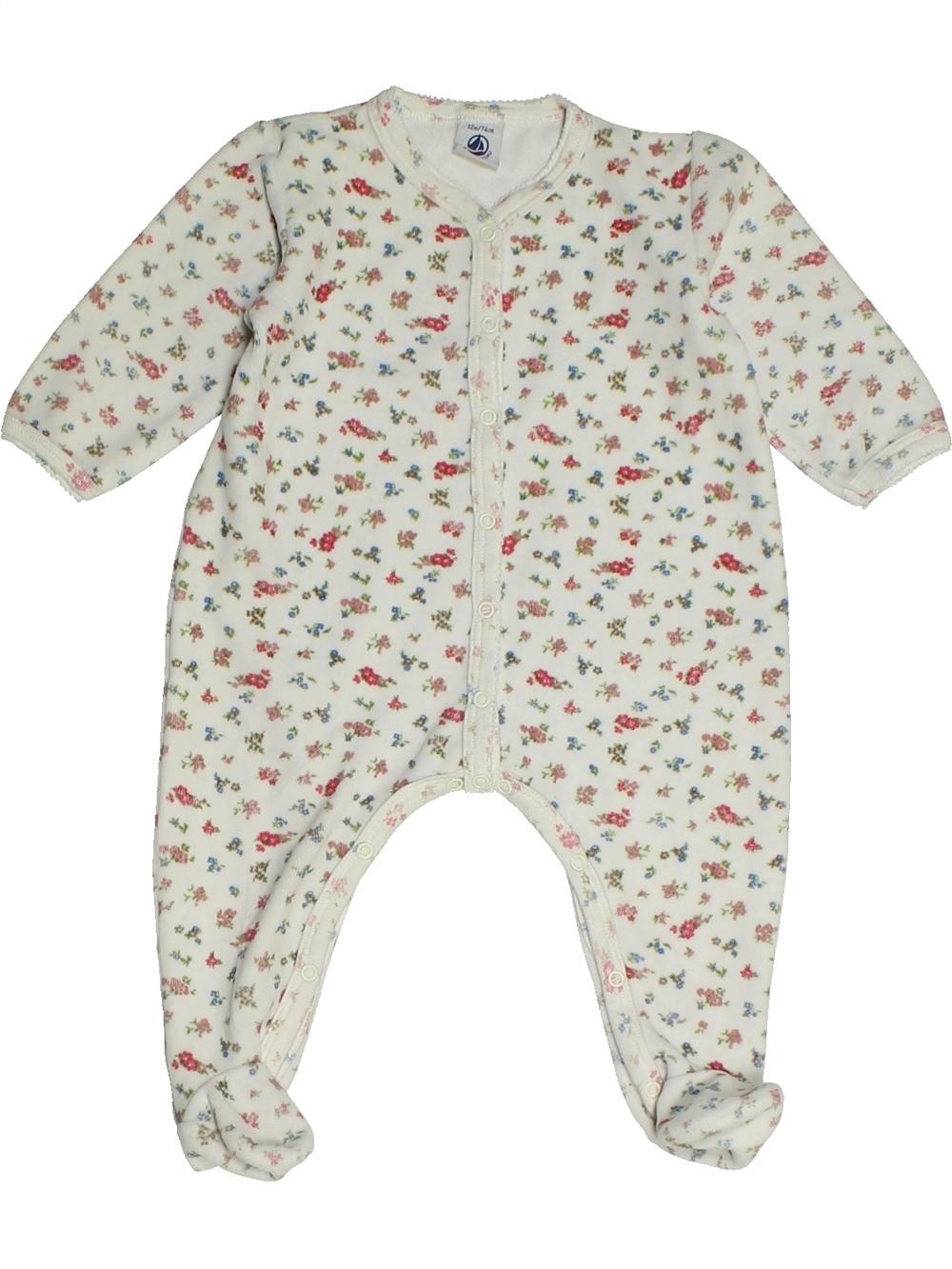 Pyjama-1-piece-bebe-fille-PETIT-BATEAU-12-mois-blanc-hiver-vetement-bebe