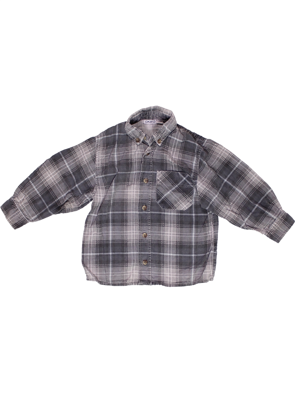 Chemise-manches-longues-enfant-garA-on-OKAIDI-2-ans-gris-hiver-vA-tement-bA-bA