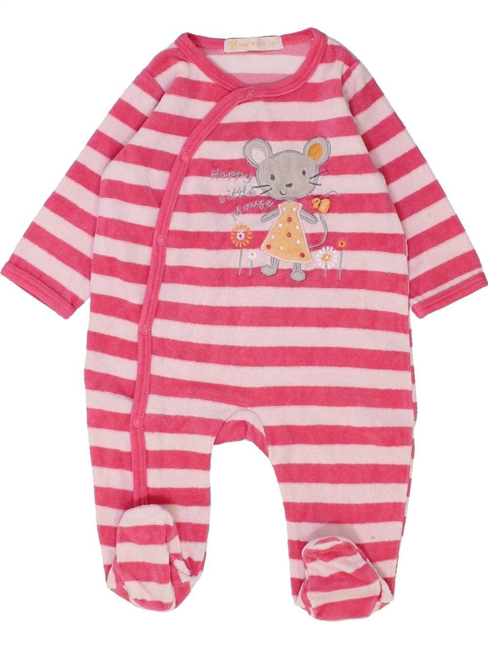 857fbe84be236 Pyjama 1 piece rose GEMO du 3 mois pour Fille - 1449335