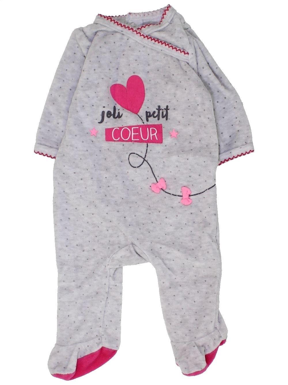 1152b9f4cefb3 Pyjama 1 piece gris GEMO du 1 mois pour Fille - 1449459